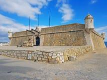 Forte a Dinamarca Bandeira em Lagos no Algarve Portugal Imagem de Stock Royalty Free
