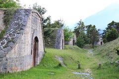 Forte do Mont-Dauphin, compartimentos de pó, Hautes-Alpes, França foto de stock