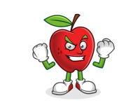 Forte e mascotte sicura della mela Vettore del carattere di Apple Immagini Stock Libere da Diritti