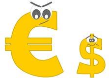 Forte euro ed il fumetto divertente del dollaro impaurito Immagine Stock