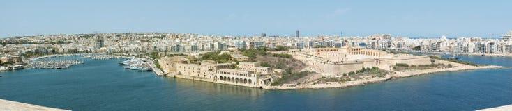 Forte Manoel, cidades Gzira e Slima Malta Imagem de Stock