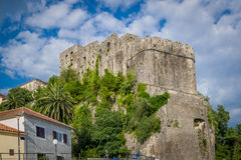 Forte Mare ancient fortress in Montenegro. Forte Mare ancient fortress walls. Popular touristic tour spot. Herceg Novi, Montenegro royalty free stock image