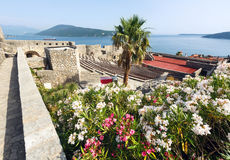 Forte Mare castle (Herceg Novi, Montenegro). Forte Mare castle summer view and Bay of Kotor (Herceg Novi, Montenegro stock image