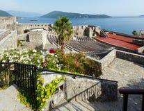 Forte Mare castle (Herceg Novi, Montenegro). Forte Mare castle summer view and Bay of Kotor (Herceg Novi, Montenegro stock images