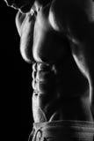 Forte modello atletico Torso di forma fisica dell'uomo che mostra l'ABS di addominali scolpiti. Immagine Stock