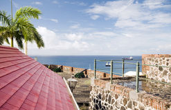 Forte Oranje Oranjestad Sint Eustatius dos canhões Imagens de Stock Royalty Free