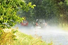 Forte pluie dans l'heure d'été Photos libres de droits