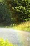 Forte pluie dans l'heure d'été Images libres de droits