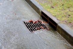 Forte pluie, drain de tempête photo stock