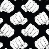 Forte pugno alzato del pugno su un fondo senza cuciture nero Equipaggia la mano Simbolo maschio del pugno di potere e di autorità Immagini Stock Libere da Diritti