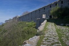 Forte Ratti. Big fortification on the hills of Genoa, built in the 18th century stock images