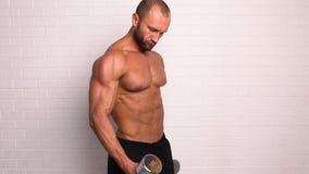 Forte uomo topless che fa esercizio con le teste di legno video d archivio