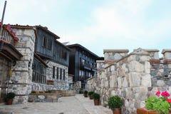 Forteca ściana w starym miasteczku Sozopol, Bułgaria Zdjęcia Royalty Free