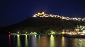 Forteca Astypalaia wyspa podczas wieczór fotografia royalty free