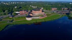 Forteczny Hameenlinna na jeziornym Vanajavesi Finlandia anteny wideo zdjęcie wideo