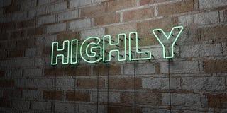 FORTEMENT - Enseigne au néon rougeoyant sur le mur de maçonnerie - 3D a rendu l'illustration courante gratuite de redevance Photographie stock