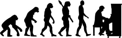 Fortepianowego gracza ewolucja ilustracja wektor