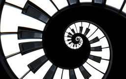 Fortepianowej klawiatury fractal spirali wzoru abstrakcjonistyczny tło Czarny i biały pianino wpisuje wokoło spirali schody ślima Zdjęcia Stock