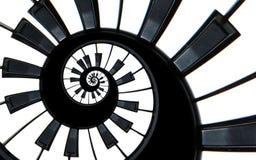 Fortepianowej klawiatury fractal spirali wzoru abstrakcjonistyczny tło Czarny i biały pianino wpisuje wokoło spirali schody ślima Obrazy Stock