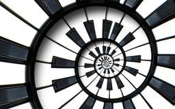 Fortepianowej klawiatury fractal spirali wzoru drukujący muzyczny abstrakcjonistyczny tło Czarny i biały fortepianowa round spira Obraz Royalty Free