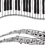 Fortepianowi klucze i muzyczne notatki Zdjęcie Stock