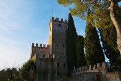 Forteresse Castello et arbres, Conegliano Vénétie, Trévise Images libres de droits