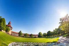Forteresse de Burg d'Esslingen avec la tour, Allemagne photo libre de droits