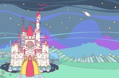 Forteresse de château de conte de fées de vecteur illustration libre de droits