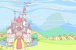 Forteresse de château de conte de fées de vecteur illustration stock