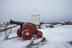 Forteresse de Fredriksten, au-dessus de Bastion du Roi (scène d'hiver) Photographie stock libre de droits