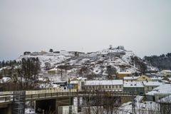 Forteresse de Fredriksten couverte dans la neige Photos libres de droits