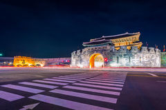 Forteresse de Hwaseong, architecture traditionnelle de la Corée à Suwon Image libre de droits