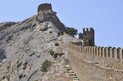 Forteresse de montagne (forteresse Genoese) Photo stock