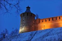 Forteresse de Nijni-Novgorod à l'hiver Photo stock