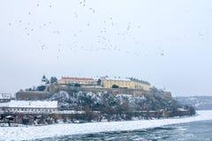 Forteresse de Petrovaradin à Novi Sad, Serbie, en hiver Photo stock