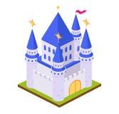 Forteresse féerique de château de brique de jeu, avec le paysage de entourage illustration de vecteur
