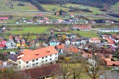 Forteresse médiévale dans Rupea - reps - vieux vestiges La Transylvanie, paysage urbain de RomaniaTypical dans les Rupea-reps de  Photo libre de droits