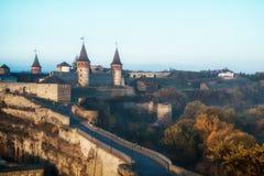Forteresse médiévale de château dans Kamenetz-Podolsk Image stock