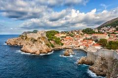 Forteresse médiévale Lovrijenac, vue célèbre scénique, Croatie de vieille ville de Dubrovnik images libres de droits