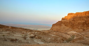 Forteresse Masada, désert, Israël de coucher du soleil image stock