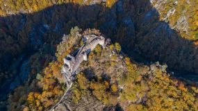 Forteresse ruinée de Poenari, Roumanie photographie stock libre de droits