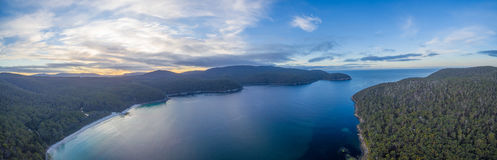 Fortescue Bay aerial panorama, Tasmania Royalty Free Stock Photo
