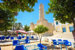 Fortezza antica con l'alta torre Susa, Tunisia, Nord Africa Fotografie Stock Libere da Diritti