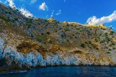 Fortezza antica di Alanya su alta roccia Fotografie Stock Libere da Diritti