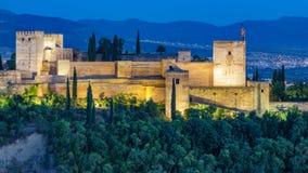 Fortezza araba antica del primo piano di Alhambra al tramonto Granada, spagna Cl Fotografia Stock