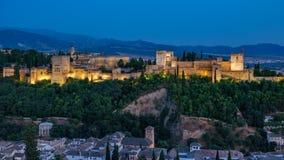 Fortezza araba antica di Alhambra al tramonto Granada, spagna Fotografie Stock