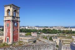 Fortezza Corfù della torre di orologio vecchia Fotografia Stock Libera da Diritti