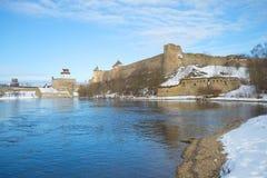 Fortezza del castello e di Ivangorod del ` s di Herman sul pomeriggio di Narva marzo del fiume del confine Immagini Stock Libere da Diritti