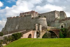 Fortezza del Priamar,  Savona, Italy. The Priamar fortress of Savona is an imposing structure that overlooks the city center at the port, on the hill bearing the Stock Image