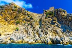 Fortezza di Alanya su alta roccia Fotografie Stock Libere da Diritti